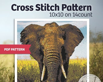 Elephant - PDF Cross Stitch Pattern - xstitch, digital download