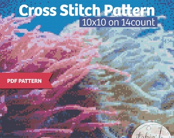 Sea Anemone - PDF Cross Stitch Pattern, Instant download- Gorgeous ocean colors, for the ocean lover
