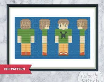 Kid with Creeper Shirt - Minecraft Inspired Cross Stitch PDF pattern, great gift for the Minecraft obsessed kid in your life.