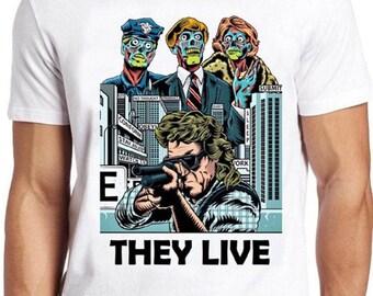 Ils Vivent T-Shirt Obey Film Rétro Sci Fi 80 s Piper Alien Espace