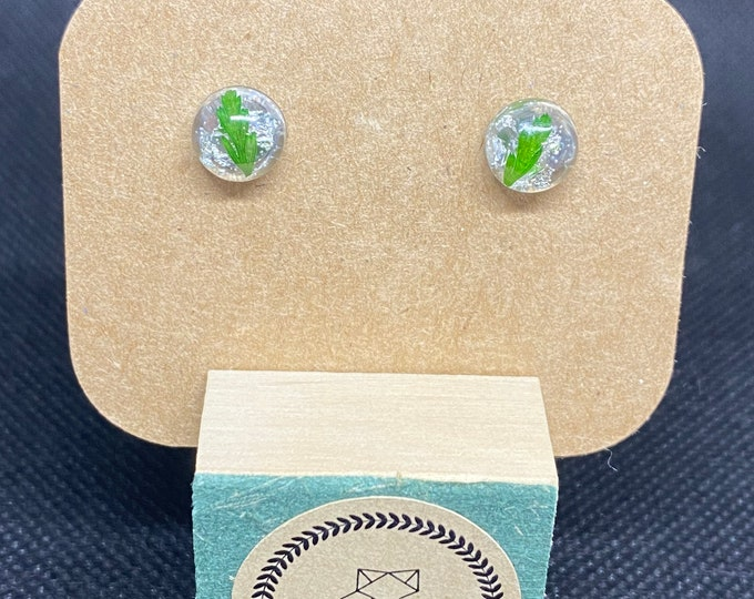 Handcrafted Fern and Silver Flake Stud Earrings Greenery Dainty Whimsical