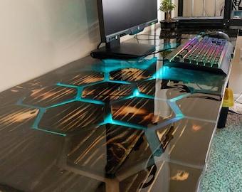 Honeycomb Computer Desk / Computer Desk / Epoxy resin River table / Office Desk / Live Edge