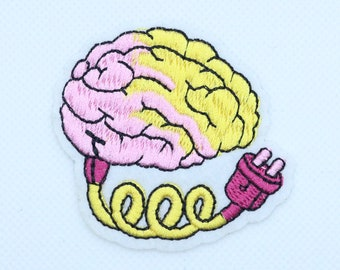 Iron on. Embroidered Patch Use your brain with hook and loop fasteners or SEW ON