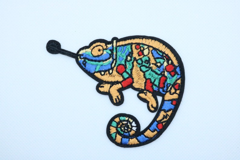 Chameleon patchiron on patchembroidered patchapplique Sew image 0