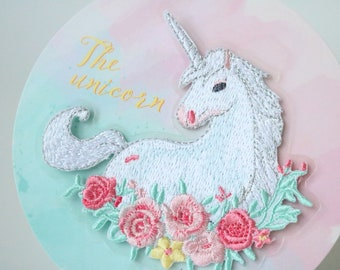 gorgeous floral unicorn patch,unicorn patch,iron on patch,embroidered patch,applique, Sew on patch,for jacket,for mask,for backpack,