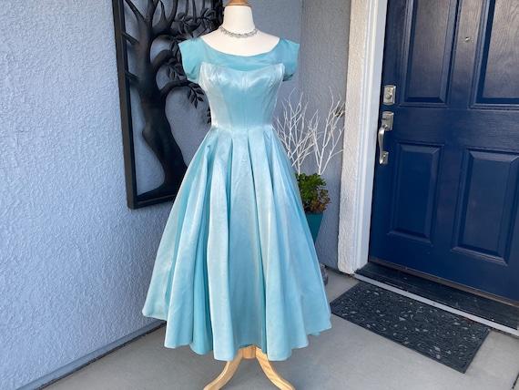 Amazing Vintage 50s Blue Party Prom dress S - image 1