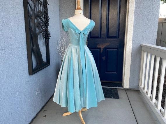 Amazing Vintage 50s Blue Party Prom dress S - image 2