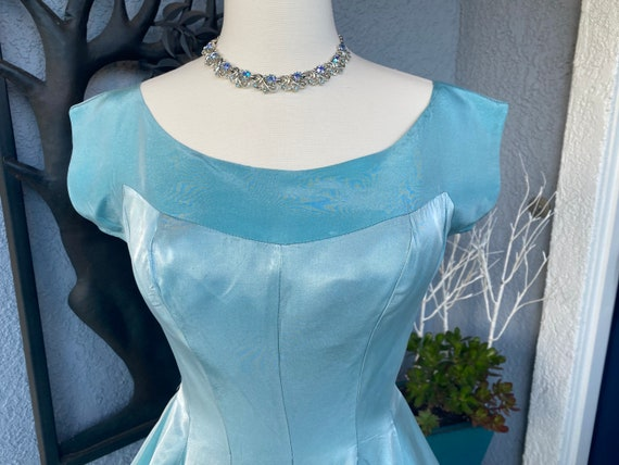 Amazing Vintage 50s Blue Party Prom dress S - image 8
