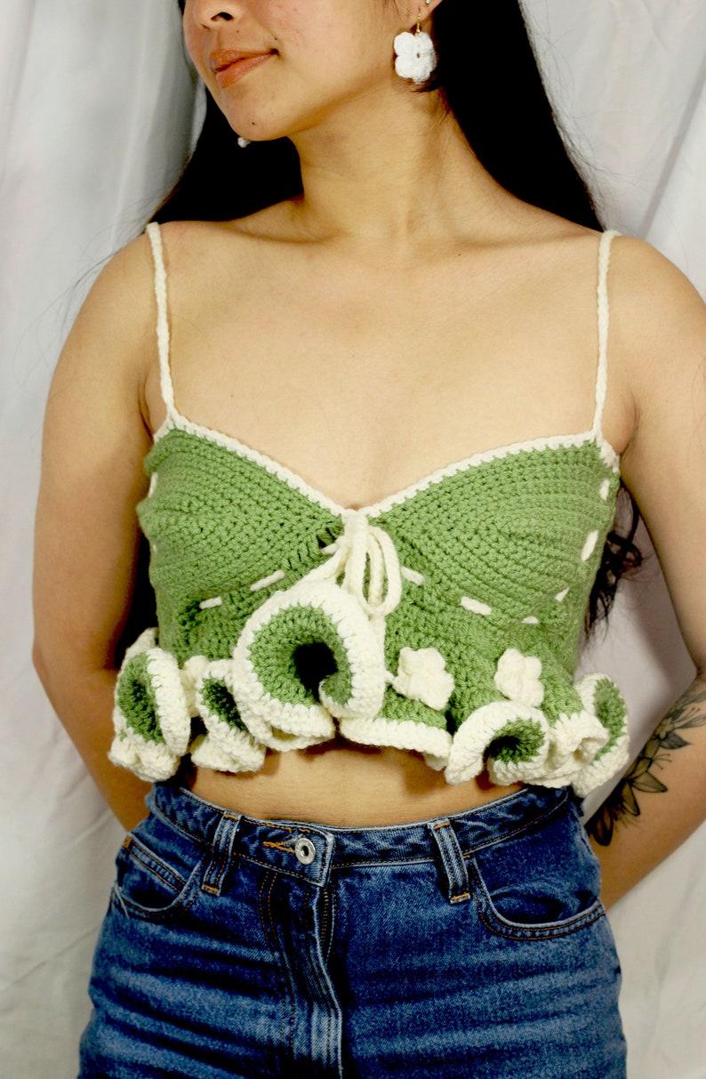 Green + White Embellished Paruparo Top