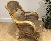 vintage Boho Style Rattan Cane Bamboo Reclining Lounge Chair Seat Armchair