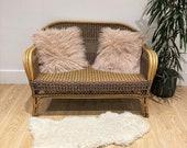 Vintage Boho Style Wicker Rattan Cane Bamboo Sunroom Two Seater Love Seat Sofa