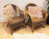 Pair of Vintage Boho Style Rattan Cane Bamboo Lounge Chair Seat Armchair
