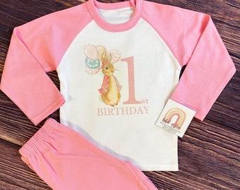 Personalised Grey Pj/'s Flopsy Bunny Birthday PJs