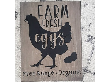 chicken eggs Tiered Tray sign Baking farm wood sign