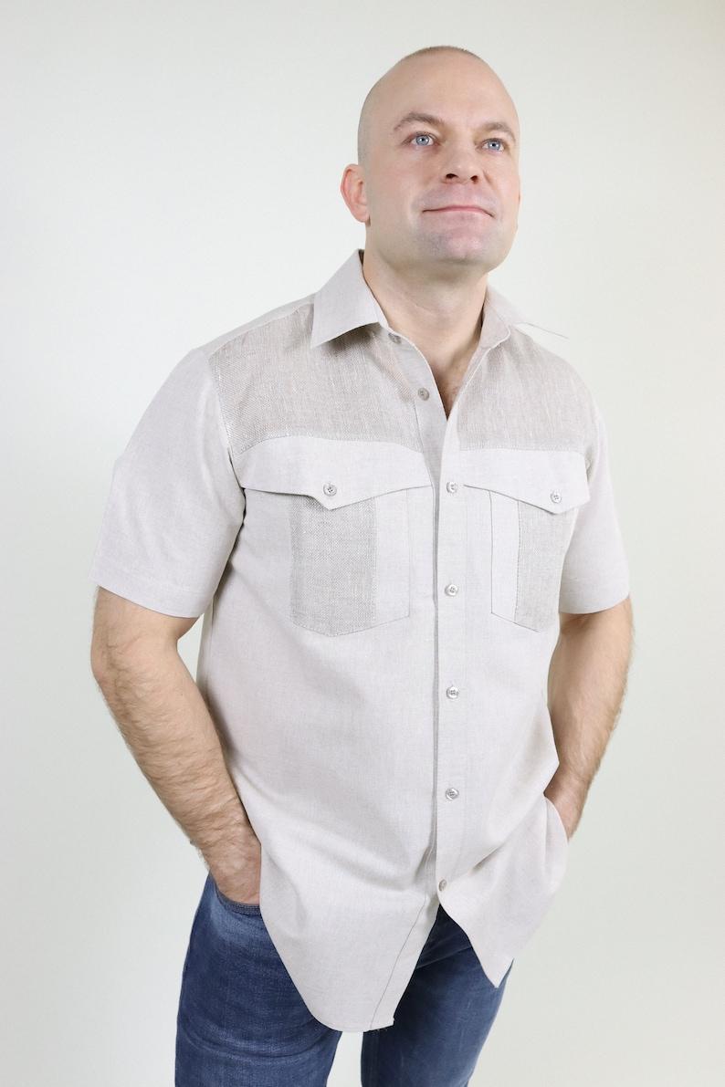 1950s Mens Shirts | Retro Bowling Shirts, Vintage Hawaiian Shirts Linen classic shirt with pattern $75.01 AT vintagedancer.com