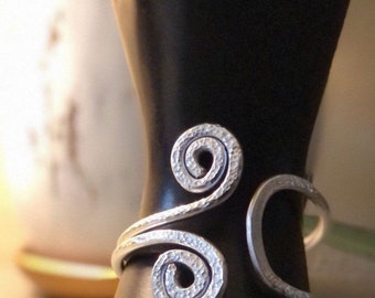 Silver Wired-Wrapped Bracelet with Hammered Spirals Aluminum Jewelry Silver Bracelet Statement Jewelry Wearable Art Unusual Gift for Her