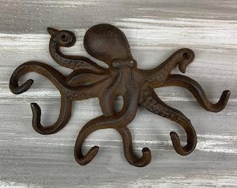 Cast iron octopus hook, nautical hook, ocean hook, coat hook, sea hook, beach hook, towel hook, wall hook, sea creature, octopus hook