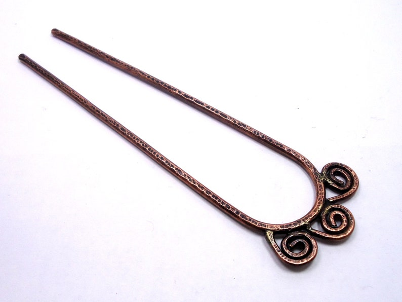 hair accessories!!! with wreath design and gemstone handmade Hair fork antique made of copper metal hair accessories brass hair fork