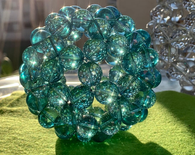 Aphrodite - Extra Large Sacred Geometry Fullerene High grade Aqua Aura Crystal 23K Gold infused