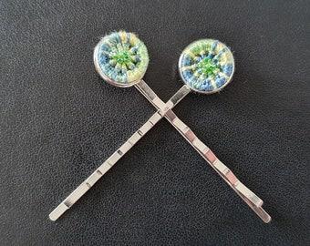 Green 'Dorset Button' Hair Grips (pair - 'bobby pins')