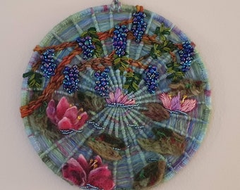 Small 'Wysteria over the Water-lily Pond' Wallhanging
