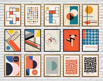 36 Piece Wall Art, instant download, bauhaus, art prints, printable digital, Wall Decor, Wall Art, Geometric Art, Abstract Wall Art