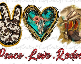 Sublimation Transfer Design Peace Love Rodeo Leopard Turquoise Heat Transfer