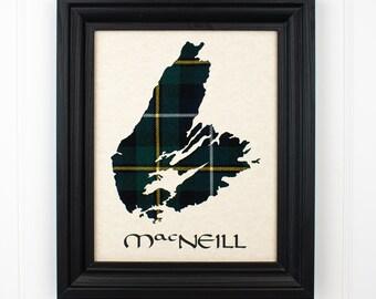 Cape Breton Tartan Map with Name