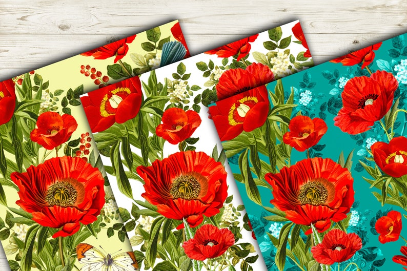 Red Poppy Watercolor Pattern 3000 *3000 300 Dpi 10 * 10 inch Poppies Seamless Patterns Digital Paper Pack 10 JPEG