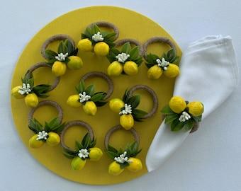 Lemon Citrus Floral Napkin Ring & Napkin    Floral Napkin Holder   Farmhouse Table Decor  Summer Wedding Table decor   Rustic Kitchen Decor