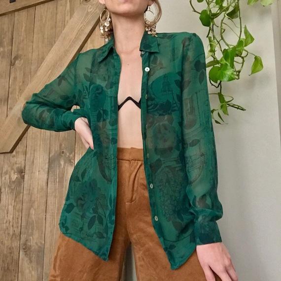 Vintage 100% Silk Organza Button Up