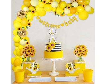 Gold Ct Birthday Party Decor Space 11 Latex Balloons Agate Swirl Yellow Marigold Marble Fall 5 Sunflower