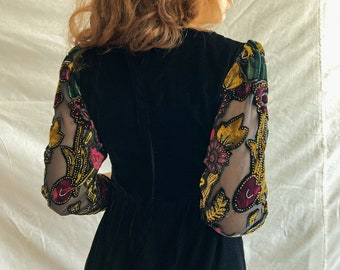 Black Velvet Dress w Embroidered Tulle Sleeves/ Velvet Collared Dress/ 70s Inspired Dress