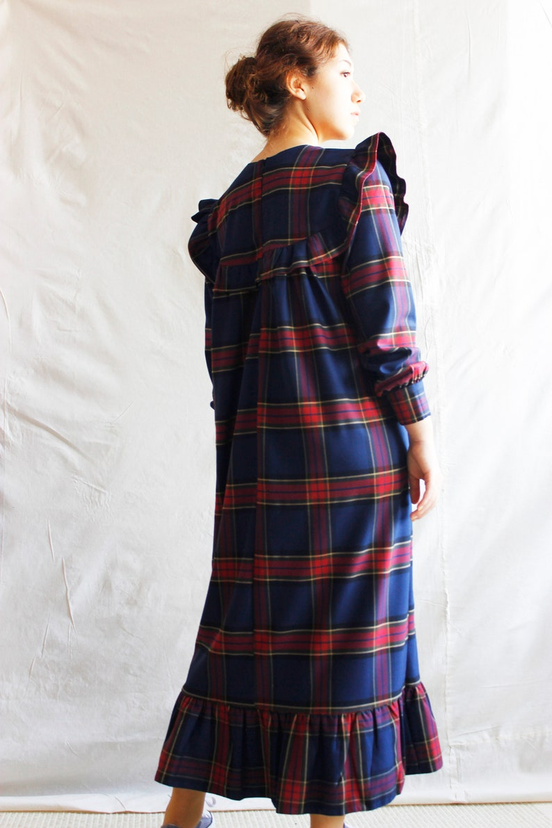 Checked Cotton Dress w Ruffle Skirt Ruffle Yoke Neck Dress Navy Blue Plaid Long Dress