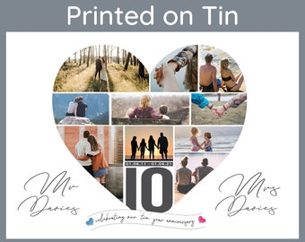 10 Year Anniversary Gift, Tin Gift, Anniversary Collage, Mr and Mrs Gift, Gift for Wife, Gift for Husband