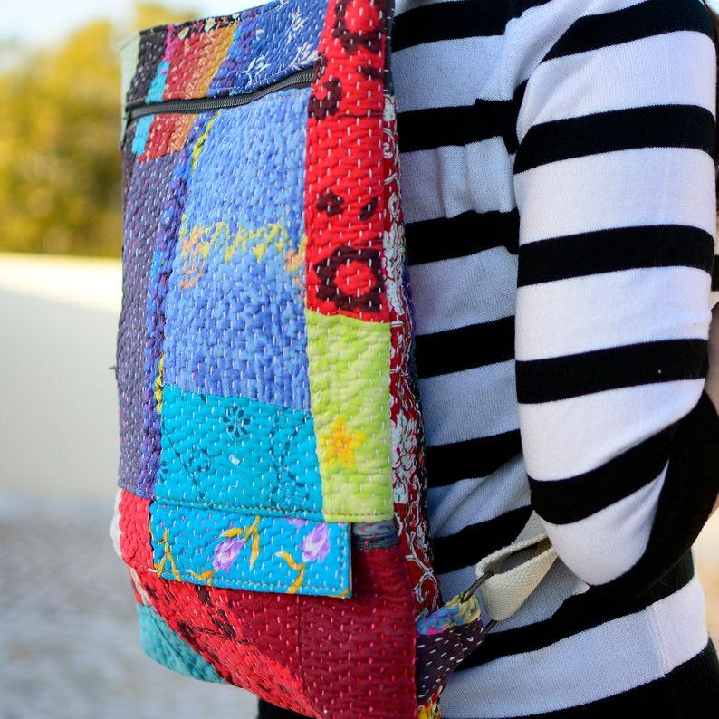 Laptop Backpack Teen Backpack Vintage Hand Quilted Campus Bag Stylish Hiking Backpack College School Backpack Backpack