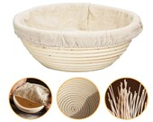 Bread Proofing Banneton Bread Basket 9.8 Inch Round Shape Bread Box Natural Peddigpipe Fermentation Basket Large Anti-Mould Rattan Bread Basket Dough