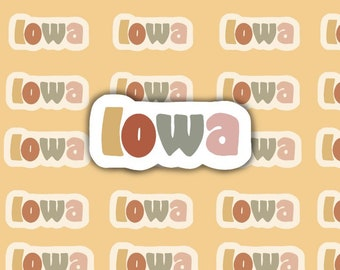 Colorful Iowa Sticker Water Resistant Weather Resistant sticker