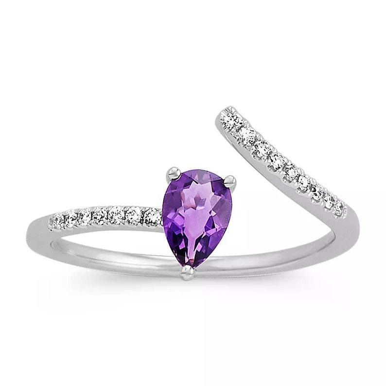 Amethyst Silver Ring Amethyst Ring Weeding Ring For Women,Mothers Day Gift Amethyst Engagement Ring February Birth Ring,Promise Ring