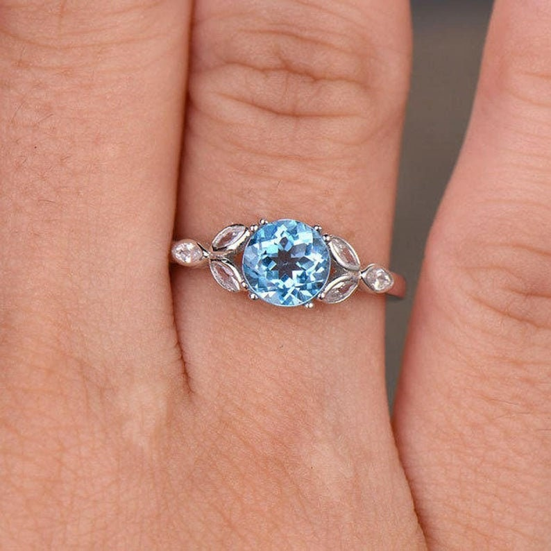 Art Deco Vintage  Ring,Blue Gemstone Promise Ring,925 Sterling Silver Birthstone Ring, Blue Topaz Engagement Ring Topaz with diamond ring