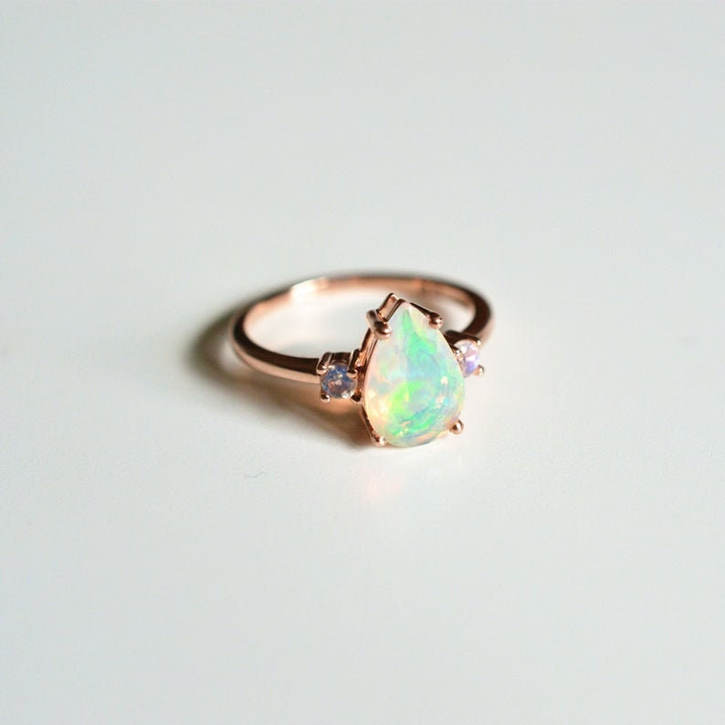 Opal Ring,Opal Wedding Ring,Engagement Ring,Opal Birthstone Ring,Gemstone Ring,925 Sterling Silver Ring,Mothers Day Gift,Rings for Women.