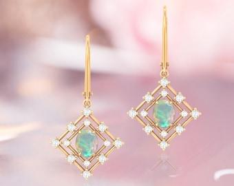 Art Deco Opal Earring For Women Rose Gold Opal Earring Women Opal Hoop Earring Dangle Drop Earring For Women Lever Back Earring For Women