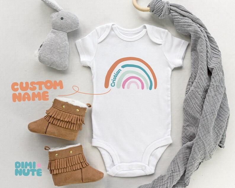 Baby bodysuit with custom name Rainbow