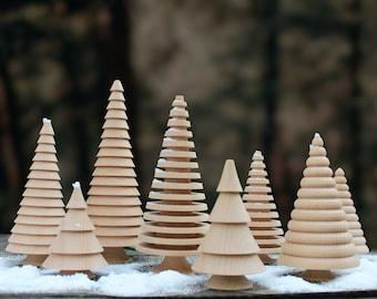 Handmade set of 4 Wooden Christmas Trees  Wood Christmas tree, Handmade Wooden Christmas Ornament Table decoration   Wood Christmas Tree Set