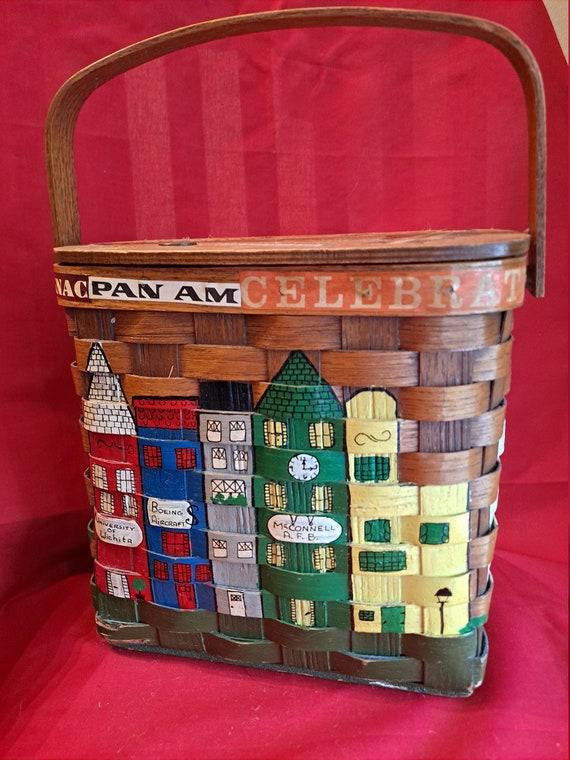 Vintage Excellent 1960's Caro Nan Wooden Basket Pu