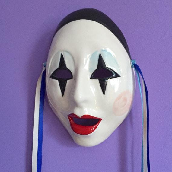 Pierrot Vintage Black Cap Ceramic Theater Mask Dec