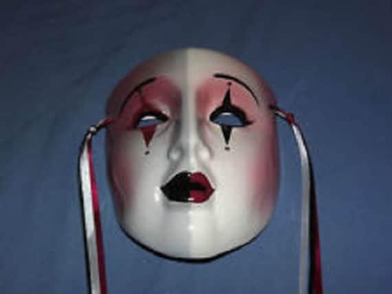 Pierrot Vintage Red Cap Ceramic Theater Mask Decor
