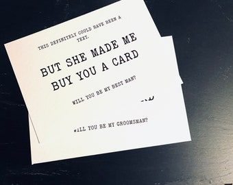 Could Have Been a Text Groomsman, Usher, Best Man Keepsake Note Card | will you be my, sentimental card, proposal card, funny card