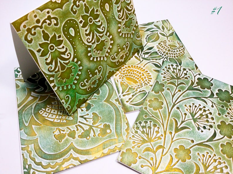Gold accents Patina like Embossed Shimmer cards Botanical cards Overlapping rings circles