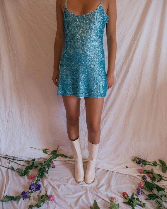 Vintage 1960s Style Blue Sequin Dress - The Luna D